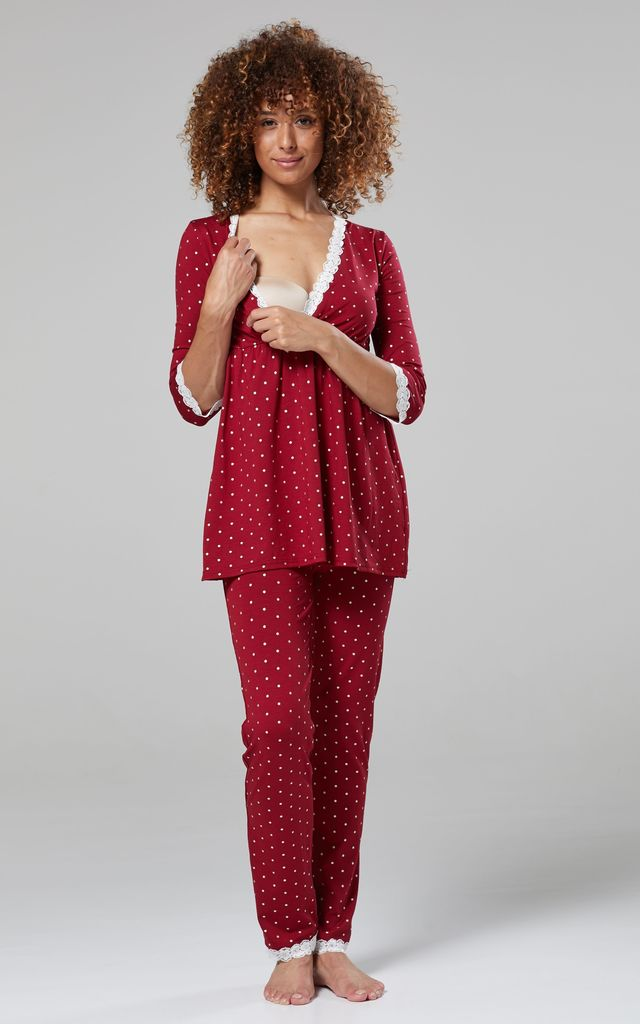 Women's Maternity Printed Pyjamas / Robe Crimson with Stars by Chelsea Clark