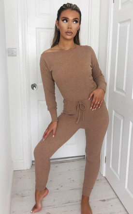 Camel Knitted Long Sleeve Jumpsuit by AX Paris