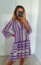 Lilac Aztec Smock V Neck Ruffle Mini Dress by GIGILAND UK