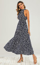 Navy Blue Halter Neck Animal Leopard Pattern Midi Layer Dress by FS Collection