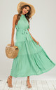 Mint Green Halter Neck White Polka Dot Midi Layer Dress by FS Collection