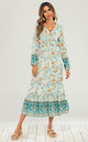 Smock Midi Dress In Mint Green & Orange Floral Printed by FS Collection