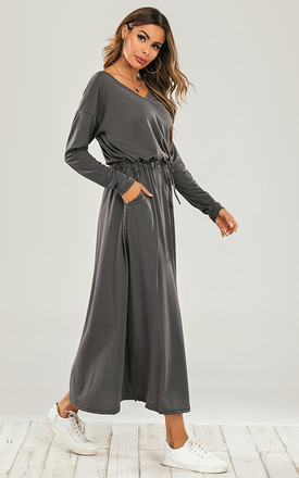 V Neck Split Leg Midi Dress In Charcoal Grey by FS Collection