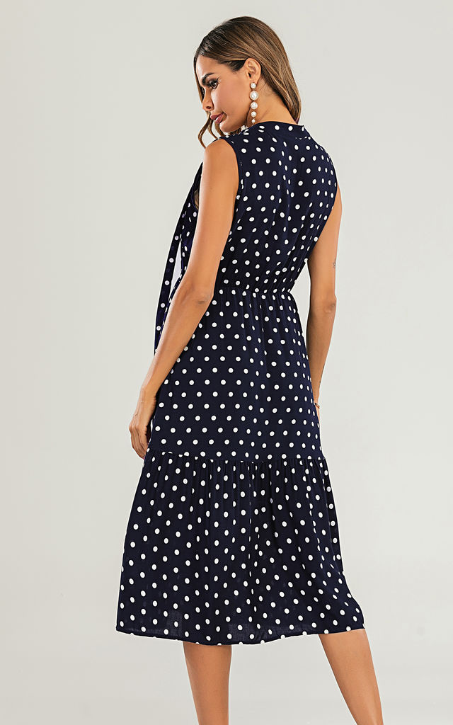 Tiered Midi Dress In Navy Polka Dot by FS Collection