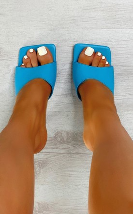 Sofia Square Toe Mule Heels in Blue by IKRUSH