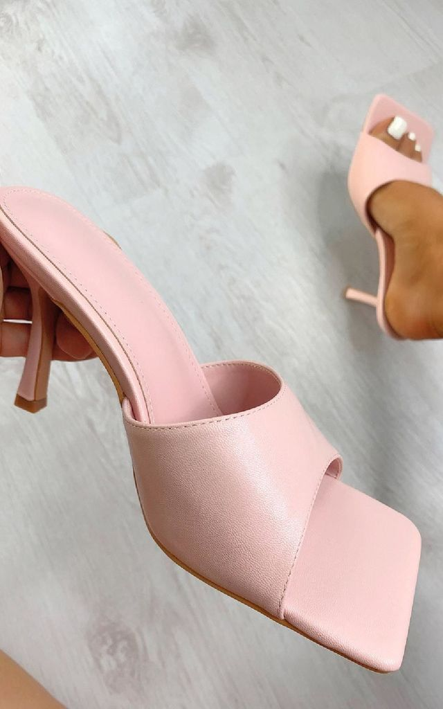 Sofia Square Toe Mule Heels in Pink by IKRUSH