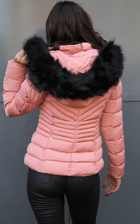 FAUX FUR HOODED QUILTED PADDED PUFFER PINK JACKET by Portobello Punk