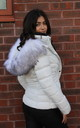 FAUX FUR HOODED QUILTED PADDED PUFFER OFF WHITE JACKET by Portobello Punk
