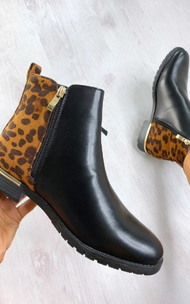 Jules Faux Leather Leopard Print Ankle Boots in Black by IKRUSH