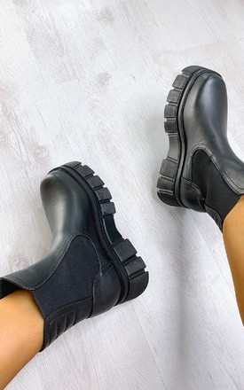 Kimmy Mega Chunky Ankle Boots in Black by IKRUSH