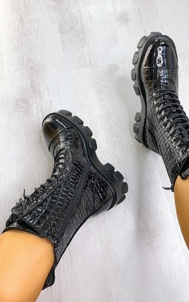 Steffi Mega Chunky Lace Up Croc Print Boots in Black by IKRUSH