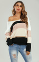 Striped Jumper In Pink & White & Golden & Beige by FS Collection