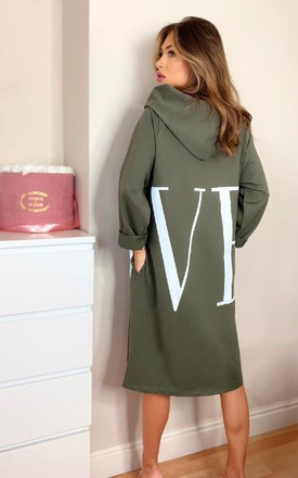 Kaya Love Oversized Jumper Dress in Khaki by IKRUSH