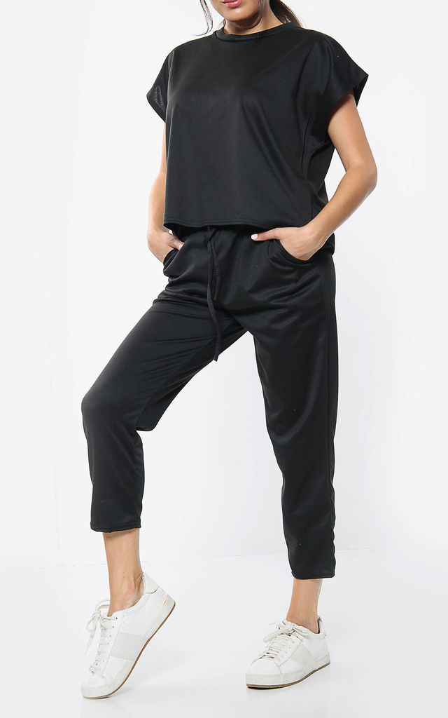 Short Sleeve Boxy Top & Jogger Loungewear Set In Black by Aftershock London