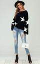 Wide Sleeve Oversize Black Jumper With White Star by FS Collection