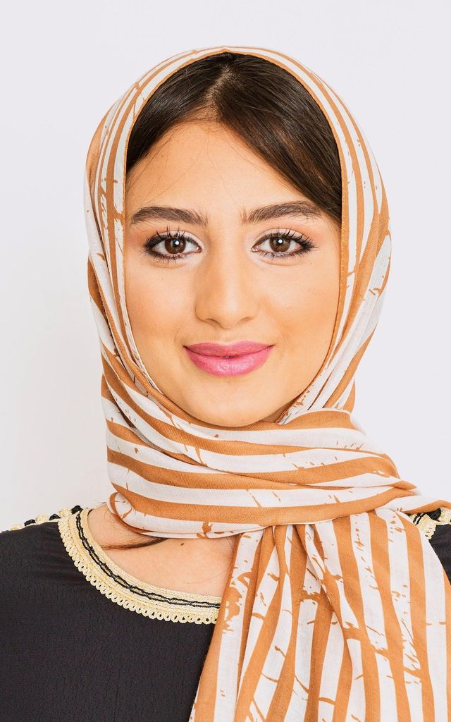 Women's Lightweight Striped Head Scarf in Camel Print by Diamantine