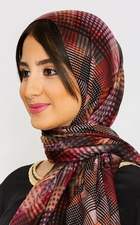 Women's Lightweight Satin Head Scarf in Purple & Black Check Print by Diamantine
