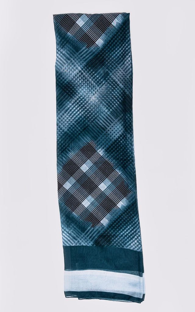 Women's Lightweight Satin Head Scarf in Petrol Check Print by Diamantine