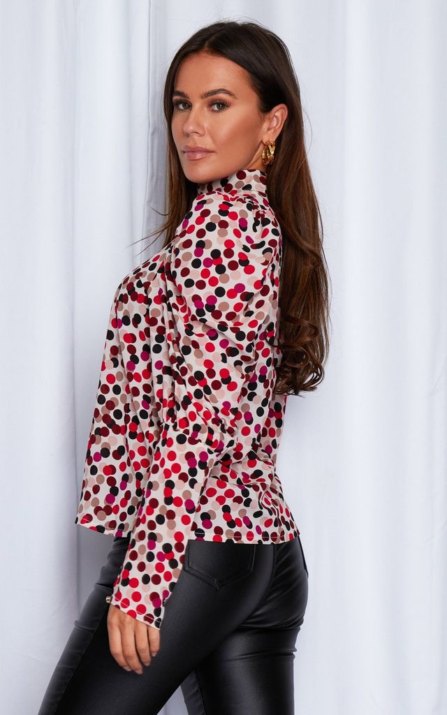 Sienna High Neck Puff Sleeve Top Multi Spot by Girl In Mind