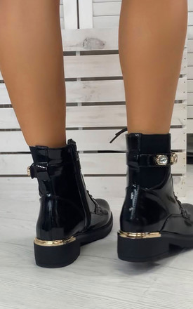 Eliana Jewel Detail Strap Ankle Boots in Black Patent by Larena Fashion