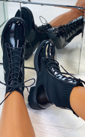 Xanthe Sock Lace Up Ankle Boots in Stretch Black by Larena Fashion