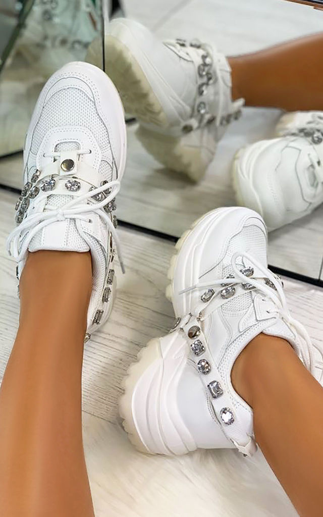 Letha Jewel Strap Chunky Trainers in White by Larena Fashion