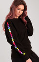 Jumper in Black with Glitter Heart Sleeves by LimeBlonde