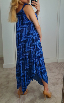 Zig-zag Electric Blue Tie Dye Maxi Jumpsuit Dress by GIGILAND
