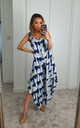 Zig-zag White Tie Dye Maxi Jumpsuit Dress by GIGILAND