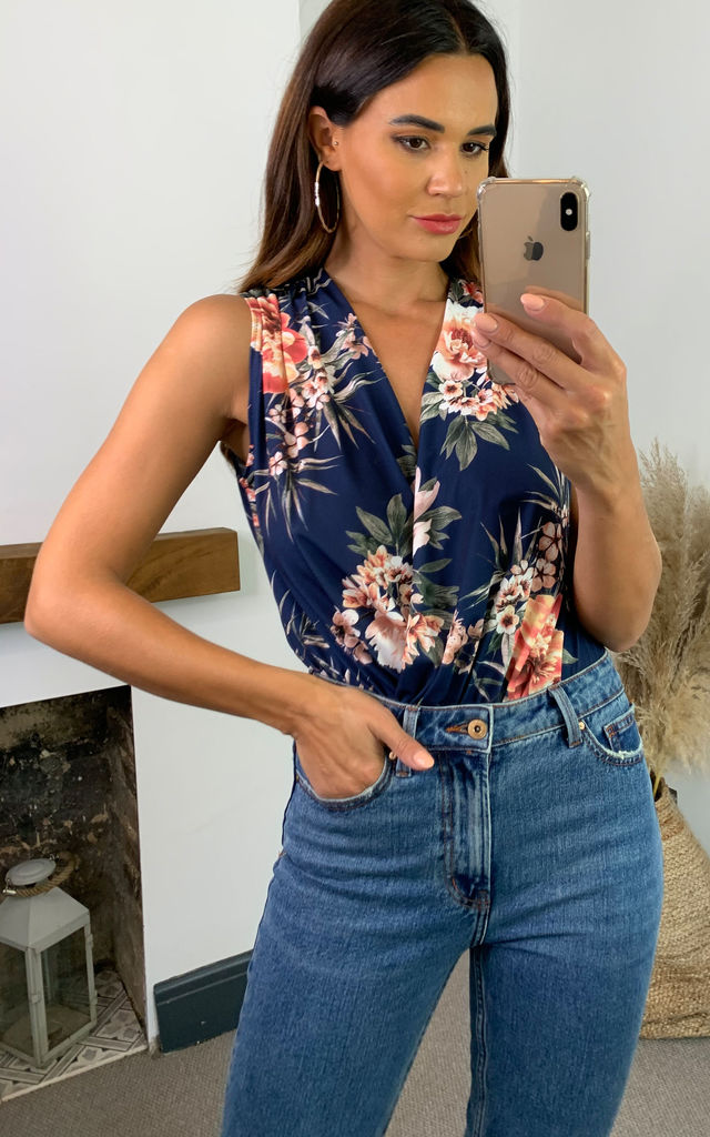 Jay Navy Floral Print Sleeveless Bodysuit by Honor Gold