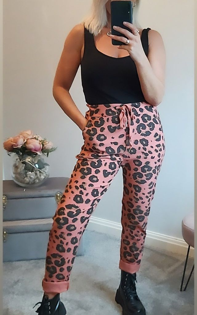 Stretch Magic Pants in Salmon Pink Leopard Print by FOXY FROX