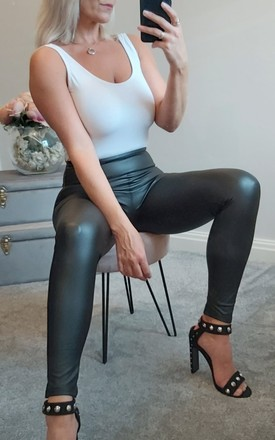 High Waist Sleek PU Leggings In Black by FOXY FROX