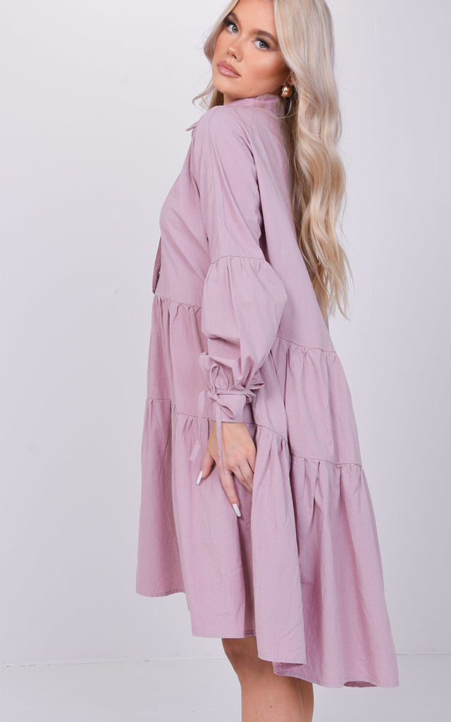 Oversized Gathered Sleeves Collared Smock Dress Pink by LILY LULU FASHION