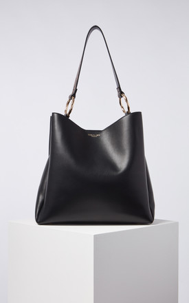 Isadora Black Hobo With Reptile Print Handle by Luella Grey London