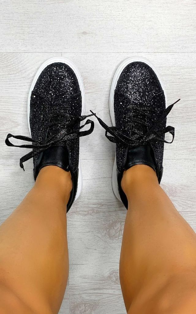 Alice Glitter Chunky Trainers in Black by IKRUSH