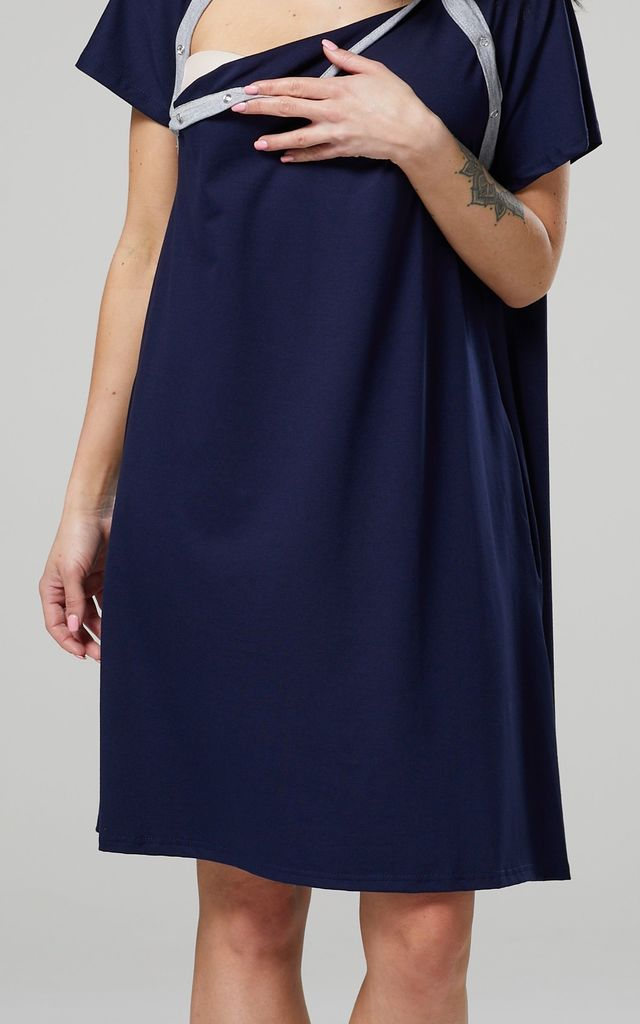 Women's Labor Delivery Hospital Gown Breastfeeding Maternity Colour: Navy by Chelsea Clark