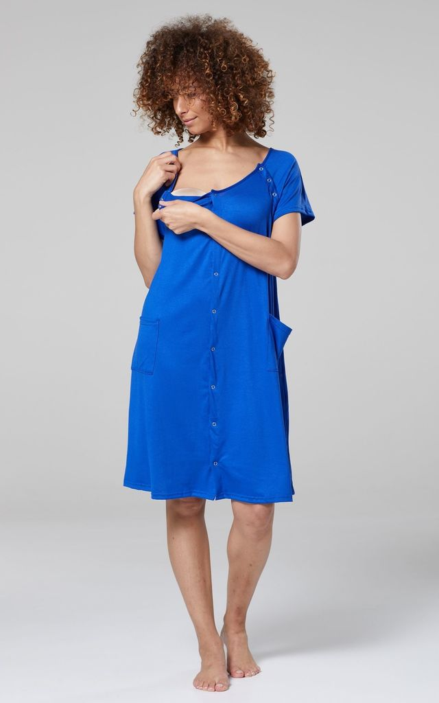 Women's Maternity Nursing Delivery Hospital Gown Nightshirt Colour: Royal Blue by Chelsea Clark
