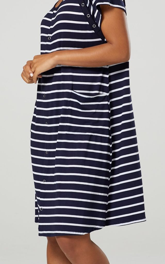 Women's Maternity Nursing Delivery Hospital Gown Nightshirt Colour: Navy & Stripes by Chelsea Clark