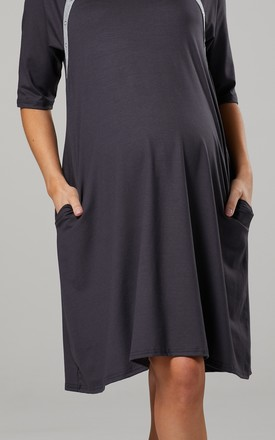 Women's Maternity Nursing Delivery Hospital Gown Nightwear Graphite by Chelsea Clark