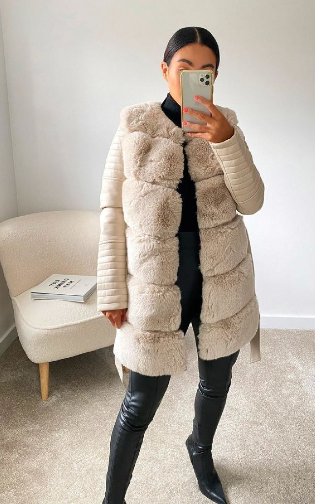 Bailey Faux Leather & Faux Fur Jacket in Nude by IKRUSH