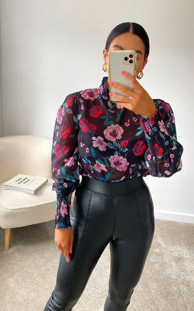 Posie Sheer Floral Top in Red by IKRUSH