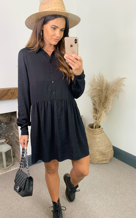 Shirt Dress With Dropped Waist In Black by VILA Product photo