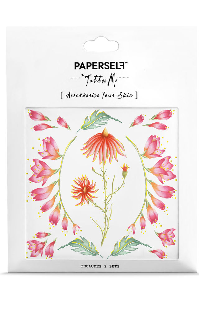 Orange Flowers Temporary Tattoo by PAPERSELF