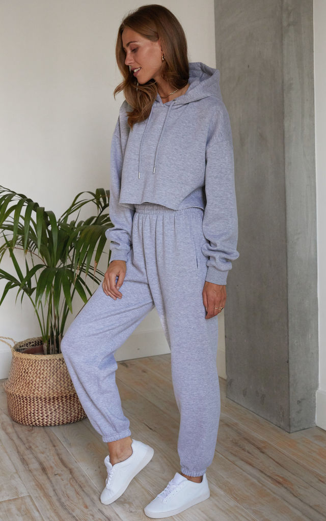 Relaxed Tracksuit Joggers and Crop Hoodie in Light Grey by Hey You