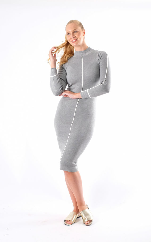Soft Knitted Ribbed Midi Bodycon Dress In Grey White Stripe Detail by Pinstripe