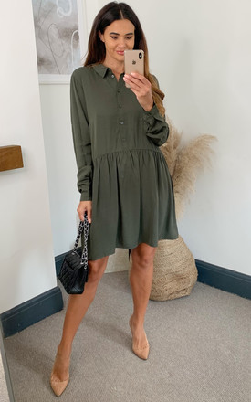Shirt Dress With Dropped Waist In Khaki by VILA Product photo