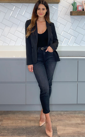 Single Breasted Tailored Blazer in Black by Pieces