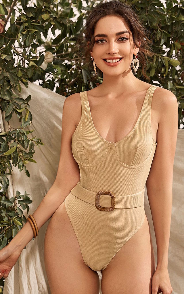 The Lazio Taupe Ribbed Bodysuit/ Swimsuit With Belt by Brunch Club Girls.