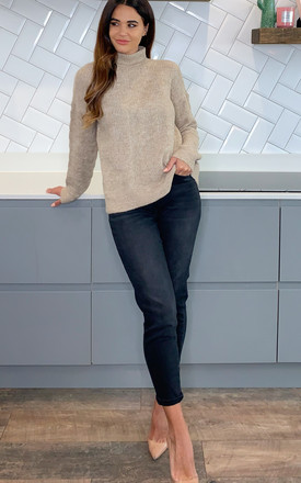 High Neck Cable Knit Jumper In Beige by Pieces Product photo