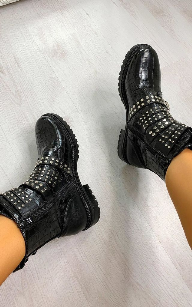 Kylie Buckle Studded Croc Print Ankle Boots in Black by IKRUSH